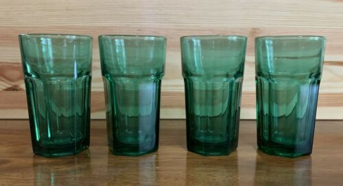 Libbey Duratuff Green Juice Glasses 4 Pieces Holds 6 Ounces