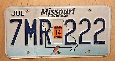 "MISSOURI GRAPHIC BIRD PASSENGER AUTO  LICENSE PLATE "" 7 MR 222 "" MO  TRIPPPLE 2"