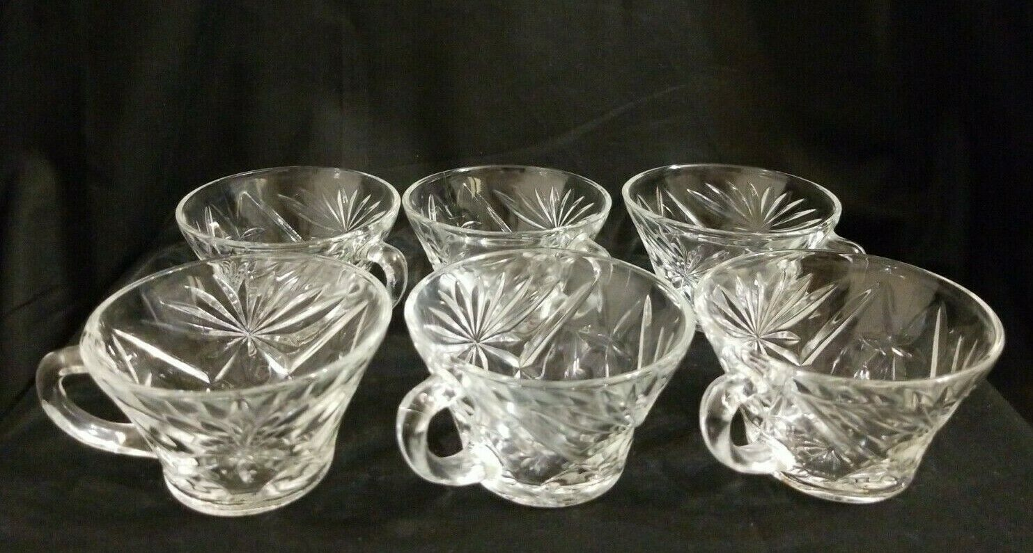 Vintage Clear Glass Starburst Punch Bowl Cups Set Of 6 - $10.78