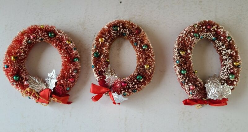 """Vintage Lot of 3 Decorated Flocked Red Bottle Brush Christmas Wreath  5"""""""