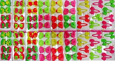 72 GROSGRAIN HAIR BOW LOT NEON CLIP BARRETTE PARTY DRESS PINK GREEN BABY TODDLER - Neon Pink Hair Bow