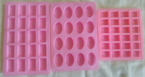 Lot of 3 Pink Silicone Mold Trays for Making Homemade Crafts (Rectangle/Oval)
