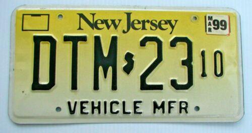 "NEW JERSEY RARE "" DTM 23 "" VEHICLE MFR  MANUFACTURER LICENSE PLATE HEAVY  NJ"