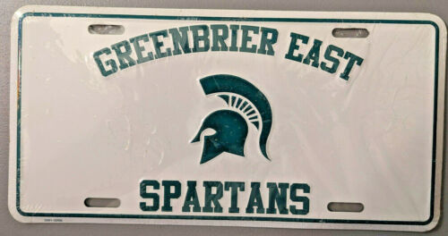 Greenbrier East High School, WV, Spartans License Plate, Pressed aluminum, new
