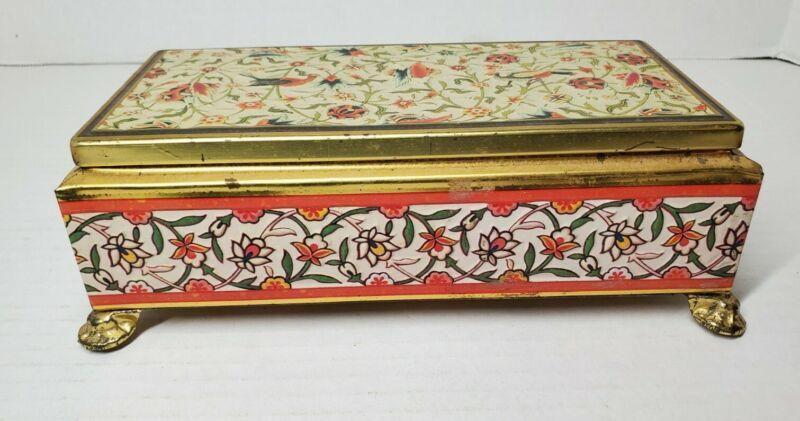 Vintage Fricke & Nacke Gold Colored Tin Box