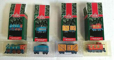 1992 HALLMARK CHRISTMAS SKY LINE COLLECTION Set of 4 Train Cars, Cast Metal, NIB