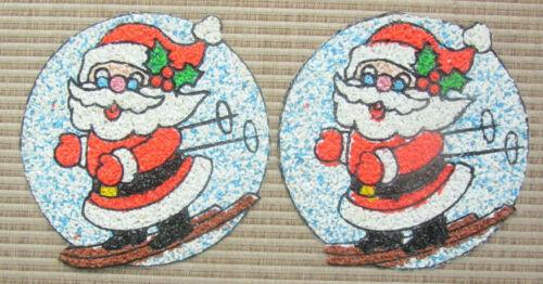2 Vintage Christmas Melted Plastic Popcorn Wall Decorations - RARE Santa on Skis