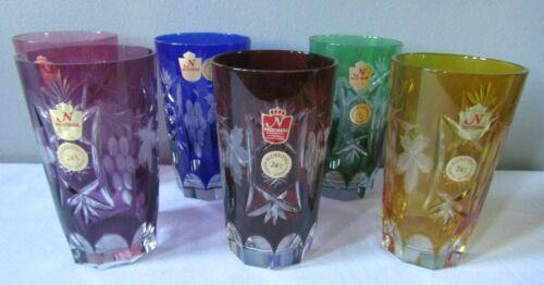 Nachtmann Traube Multi Color 11oz Crystal Highball Glasses w/Labels NIB