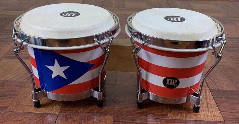 "Wood Bongos - Puerto Rico Flag Design, 6"" & 6-1/2"" Natural Heads DP."