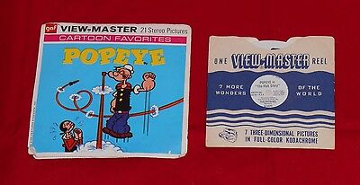 """vintage POPEYE VIEW-MASTER REELS packet (missing booklet) + """"The Fish Story"""""""