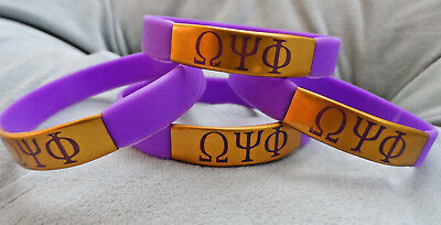 New  4 Pack  Omega Psi Phi Armband Wristband  Metal Accent Purple   Gold