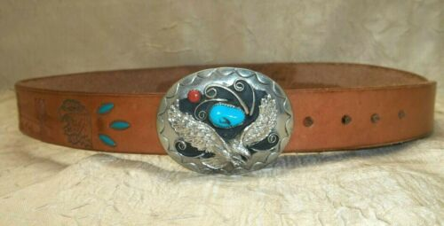 Native American Squaw Wrap German Silver Turquoise Coral Buckle & Belt Signed
