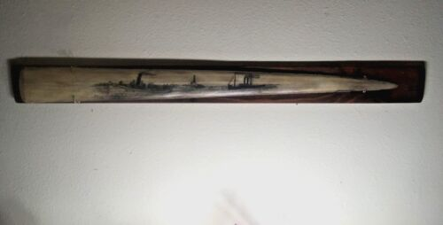SCRIMSHAW SWORDFISH BILL, STEAM SHIPS,SIGNED, FREEHAND ORIGINAL