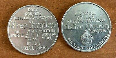 (2) Vintage, expired, aluminum, Dairy Queen, Free Sundae or discount tokens