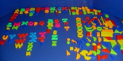 Large Lot of 188 Magnetic ALPHABET LETTERS  & NUMBERS & SHAPES Learning Tool