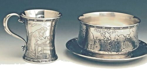 Tiffany & Co.Sterling Silver Baby Cup, Porringer and Plate Set, Nursery Rhyme