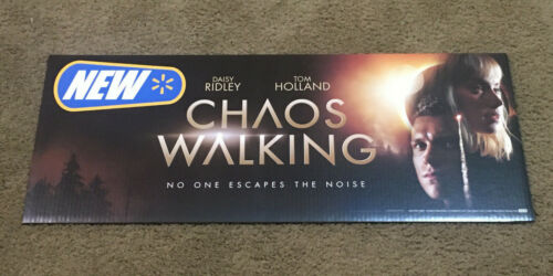"""Chaos Walking Promotional Movie Store Display Sign Promo Ad 30"""" x 12"""" COOL !"""