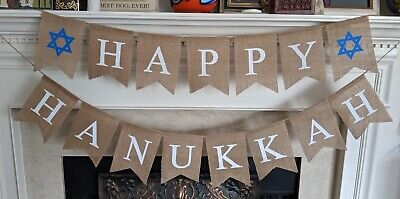 Happy Hanukkah Banner Chanukah Decorations Judaica Burlap Party Garland Decor ()