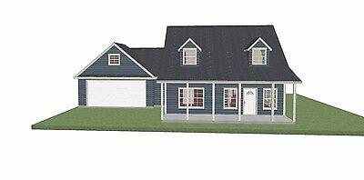House Plan - 2 Story Cape Cod House Plan SF 1731 - PL15029SL