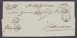 Germany-1855-Stampless-cover-Wolfhagen-Volkmarsen-paper-seal