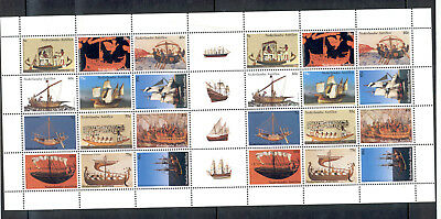 """Netherlands Antilles - Sheet of 28 Stamps Year 2003 MNH** """"History of Seafaring"""""""