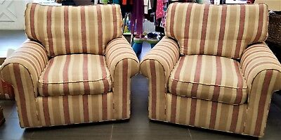 Pair of Custom Made High End Club Armchairs Upholstered Down Cushions 360 Swivel