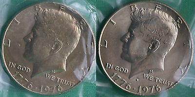 1976 P & D KENNEDY HALF DOLLAR COIN FROM US MINT SET 2 BU CELLOS CELLO HALVES