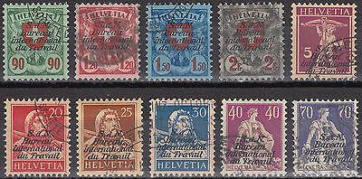 Schweiz Internationale Ämter BIT Mi.Nr. 15-24 x gestempelt Mi.Wert 140€ (6628)