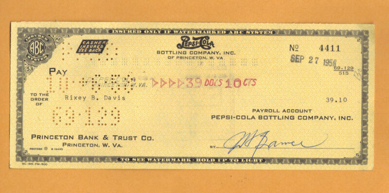 1950s Cancelled Pepsi Check , Pepsi Cola Bottling co. W. Virginia!