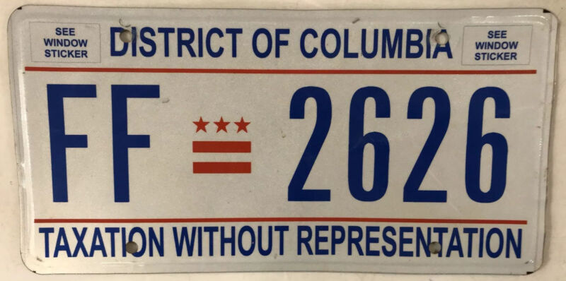 District Columbia Taxation license plate D.C. USA Graphic Washington DC #FF 2626