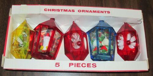BOX OF 5 JEWEL BRITE PLASTIC CHRISTMAS ORNAMENTS