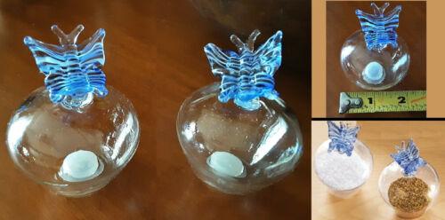 Blue Butterfly Crystal Clear Glass Salt Pepper Shaker Set