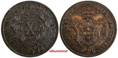 Portugal Maria I and Pedro III Copper 1785 X 10 Reis Toned XF KM# 280 (17 398)