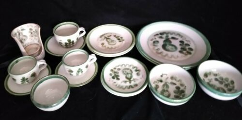 Mary Hadley Pottery 16 Pc Set Green Pear & Grape Dishes Mugs Candlestick Bowls