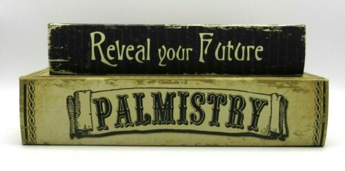 HALLOWEEN PALMISTRY & REVEAL YOUR FUTURE RETRO STYLE FAUX BOOKS STASH BOXES NEW