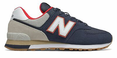 New Balance Men's 574 Shoes Blue with Red