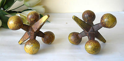 """PAIR OF LARGE IRON /""""JACKS/"""" BOOKENDS//PAPERWEIGHTS 2 RUSTED AGED PATINA NICE"""