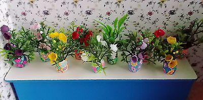 5 Blumentöpfe mit Pflanze Miniaturen für Puppenhaus Puppenstube 1:12 Dollshouse