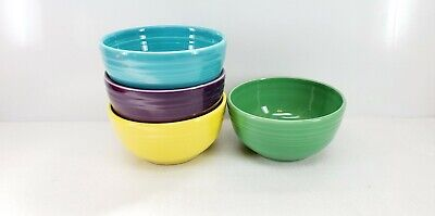 set 4 Small Bistro BOWLS meadow mulberry turquoise sunflower FIESTA 22 OZ. NEW