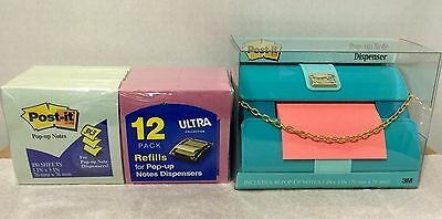 3m Post-it Pop-up Note 3x3 Fashion Collection Dispenser 12 Pack Refills New