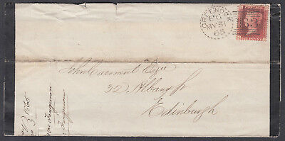 1865 Greenock 163 dotted circle duplex; Mourning Sheet; rather tatty