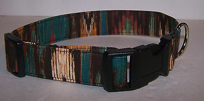 Wet Nose Designs Colorful Southwestern Stripe Dog Collar Browns Greens Tans