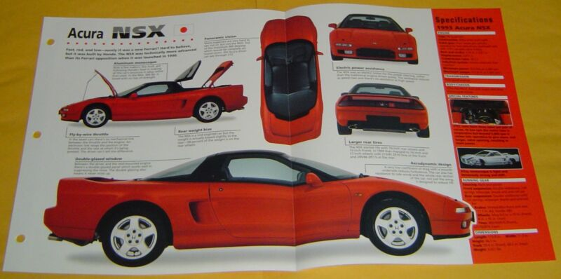 1990 91 1992 1993 Acura Honda NSX red V6 Quad Cam 274 hp Info/Specs/photo 15x9