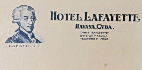 early Havana Cuba HOTEL LAFAYETTE illustrated letterhead stationary UNUSED wb