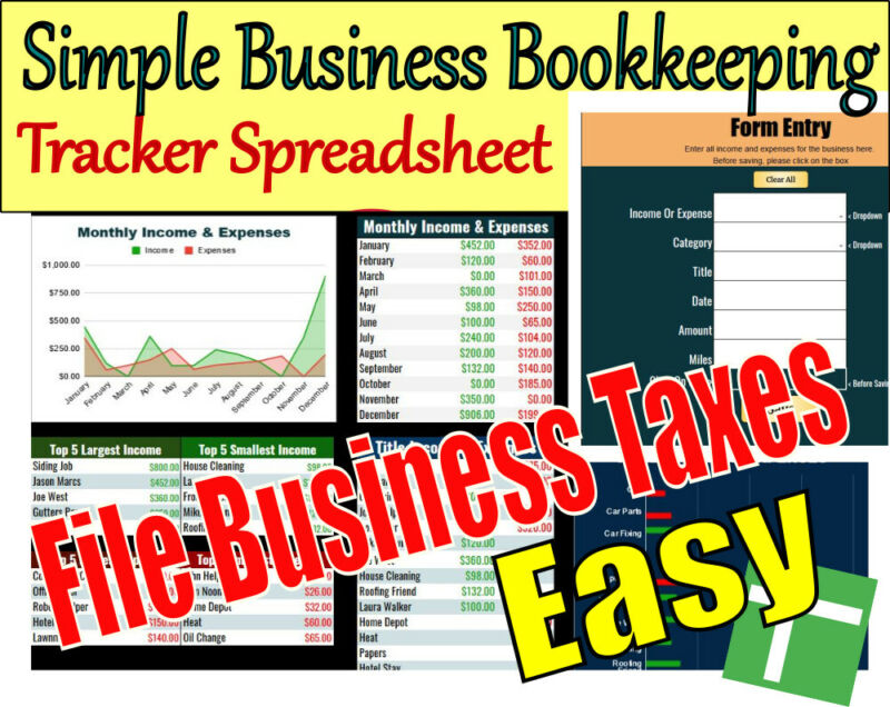Simple Business Bookkeeping Tracker Spreadsheet Download With Tax Filing Summary