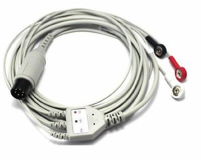 NEW 10PCS GENERAL 6PIN 3 LEAD ECG EKG CABLE SNAP COMPATIBLE AHA