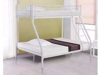 BRAND NEW MODERN TRIO TRIPLE METAL BUNK BED 100% STRONG WITH CHOICE OF MATTRESS- DOUBLE/SINGLE