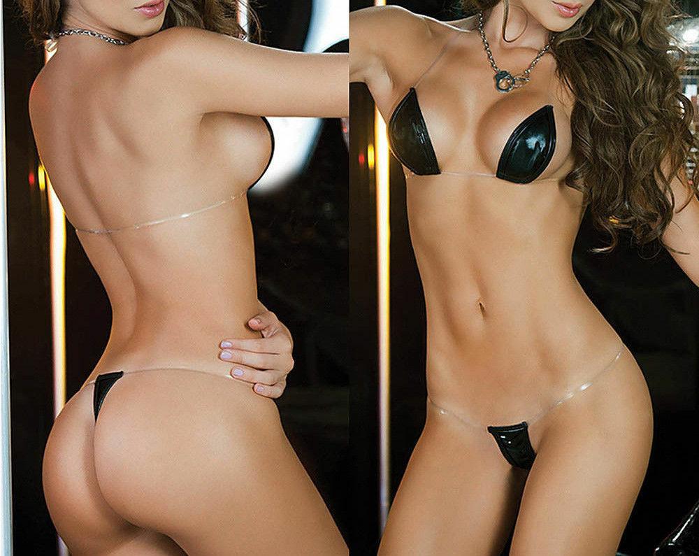 sexy micro mini Bikini schwarz wetlook Reizwäsche hot fast nackt  transparent