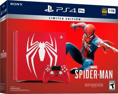 Sony PlayStation PS4 Pro 1TB Limited Edition Spider-Man Console Bundle NEW