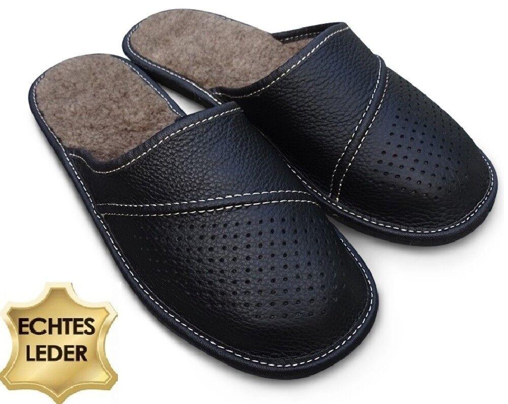 Herren LEDER Hausschuhe Pantoffeln Latschen Schwarz mit Lammwolle Gr.41 - 48